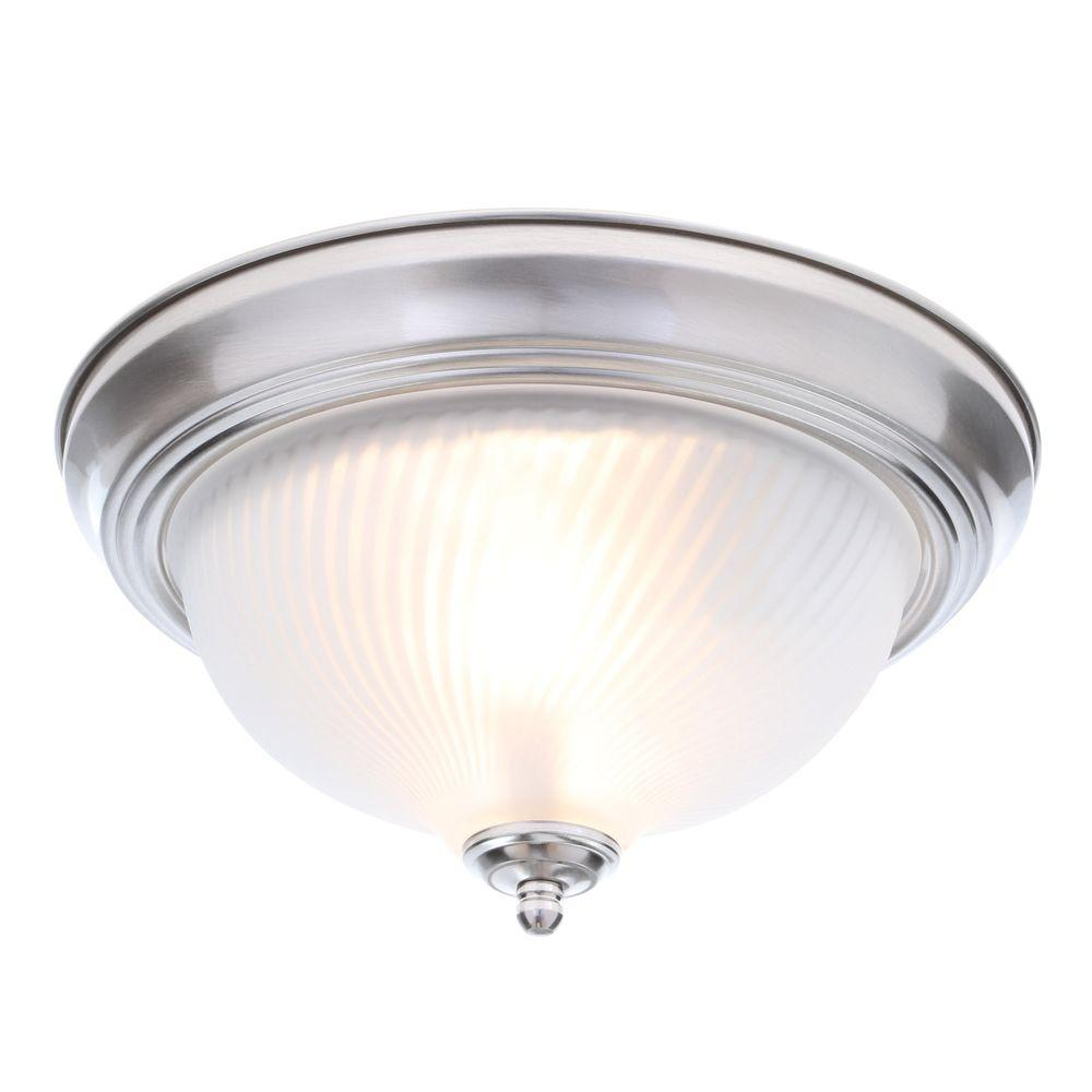 Hampton Bay 11 In 2 Light Brushed Nickel Flush Mount With Frosted Swirl Gl Shade