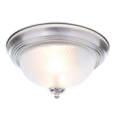 11 in. 2-Light Brushed Nickel Flushmount with Frosted Swirl Glass Shade
