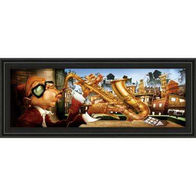 """18 in. x 42 in. """"Saxo City in Blue"""" by Adam Perez Framed Printed Wall Art"""