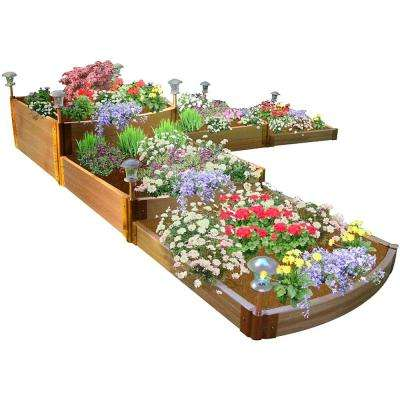 1 in. Profile Tool-Free Classic Sienna 12 ft. x 12 ft. x 22 in. Raised Garden Bed Split Waterfall Tri-Level