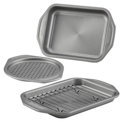 Total Bakeware Nonstick Toaster Oven and Personal Pizza Pan Baking Set, Gray, 4-Piece