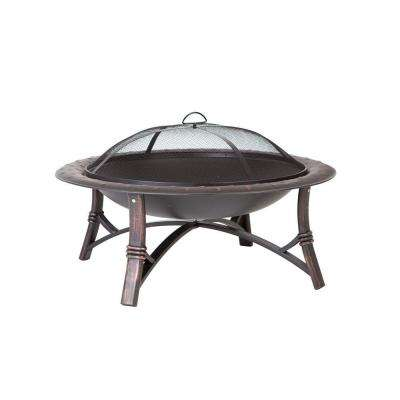 Roman 35 in. Round Steel Fire Pit in Brushed Bronze