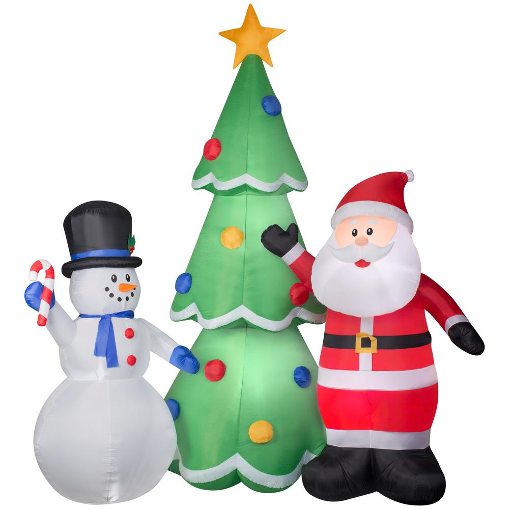 Gemmy Christmas Inflatables 2019.Gemmy 12 Ft W X 13 Ft H Inflatable Santa And Snowman Tree Scene