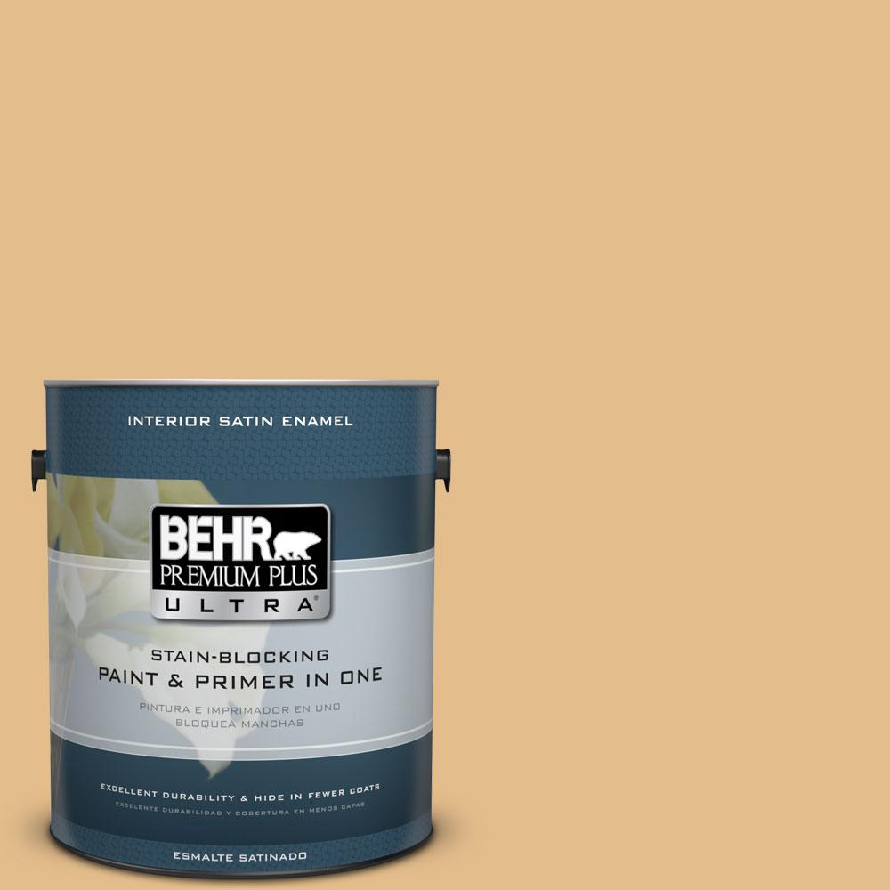 BEHR Premium Plus Ultra 1-gal. #330D-4 Warm Muffin Satin Enamel Interior Paint
