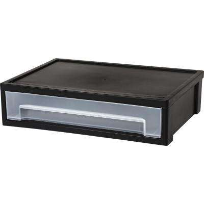 13.81 in. x 3.63 in. Black Large Desktop Stacking Drawer (6-Pack)