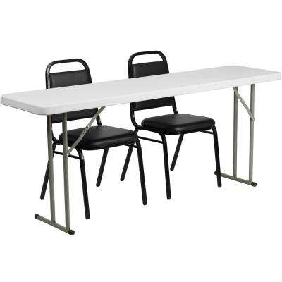 72 in. Black Plastic Tabletop Vinyl Seat Folding Table and Chair Set