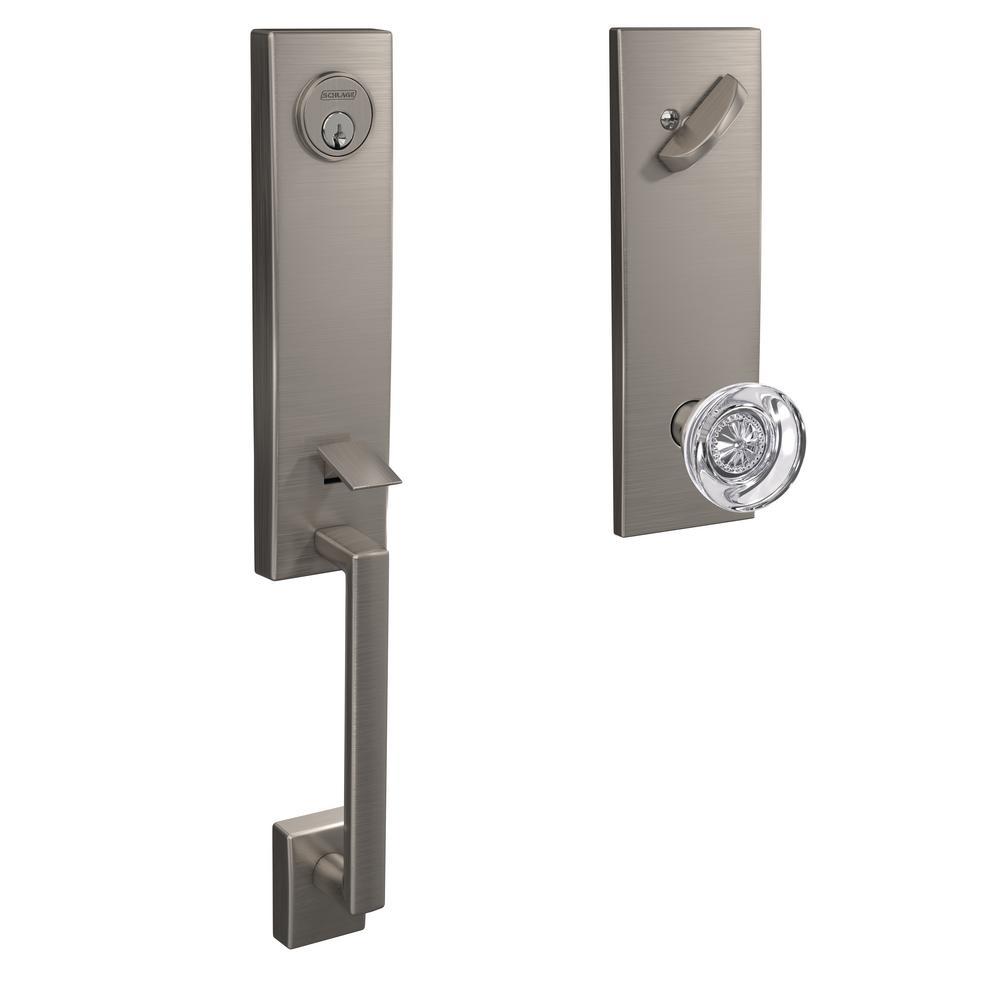 Century Satin Nickel Single Cylinder Deadbolt with Hobson Glass Knob Door Handleset