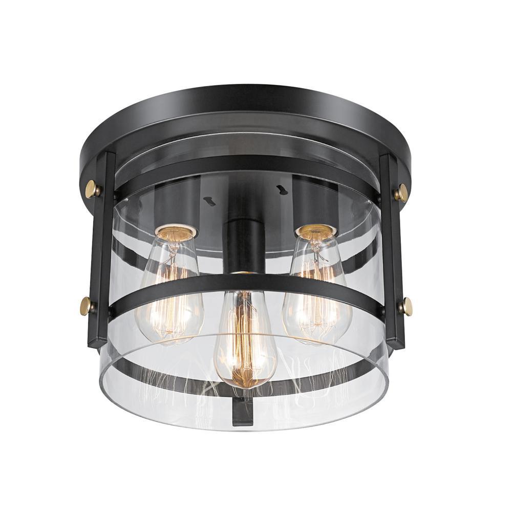 Globe Electric Wexford 3 Light Dark Bronze Semi Flush Mount Ceiling With Clear Gl