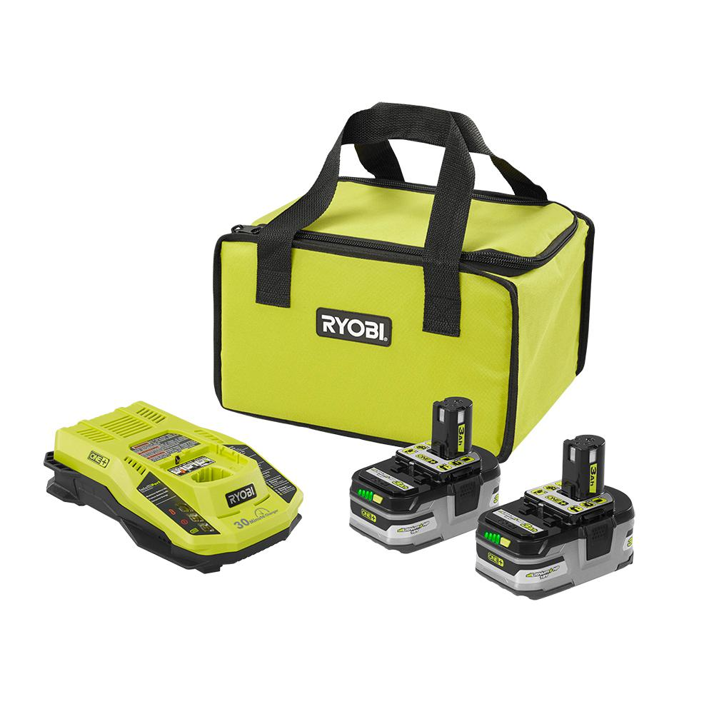 RYOBI 18-Volt ONE+ Lithium-Ion Kit with (2) 3.0 Ah LITHIUM+ HP Batteries, (1) Rapid Charger, and Bag