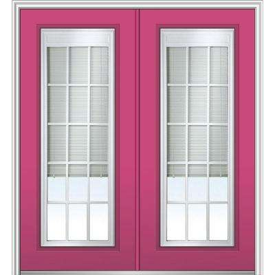 72 in. x 80 in. Internal Blinds and Grilles Right-Hand Full Lite Clear LowE Painted Fiberglass Smooth Prehung Front Door