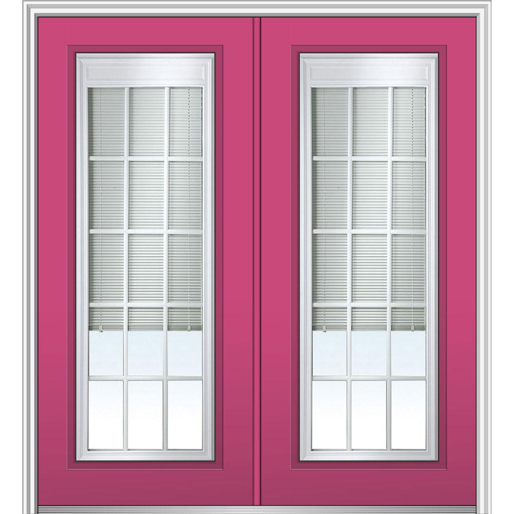 MMI Door 72 in. x 80 in. Internal Blinds and Grilles Left-Hand Inswing Full Lite Clear Glass Painted Steel Prehung Front Door