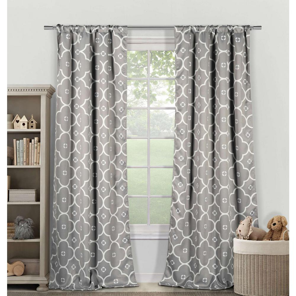 Duck River Blackout Gingalia 84 in. L Pole Top Panel in White Grey (2-Pack)