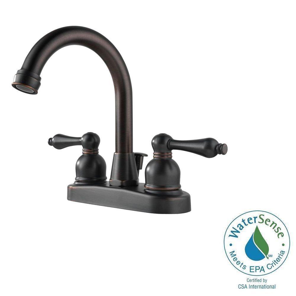 Westbrass 4 in. Centerset 2-Handle High-Arc Bathroom Faucet in Oil ...