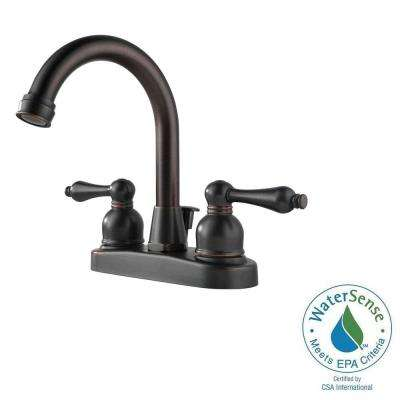 4 in. Centerset 2-Handle High-Arc Bathroom Faucet in Oil Rubbed Bronze with Drain