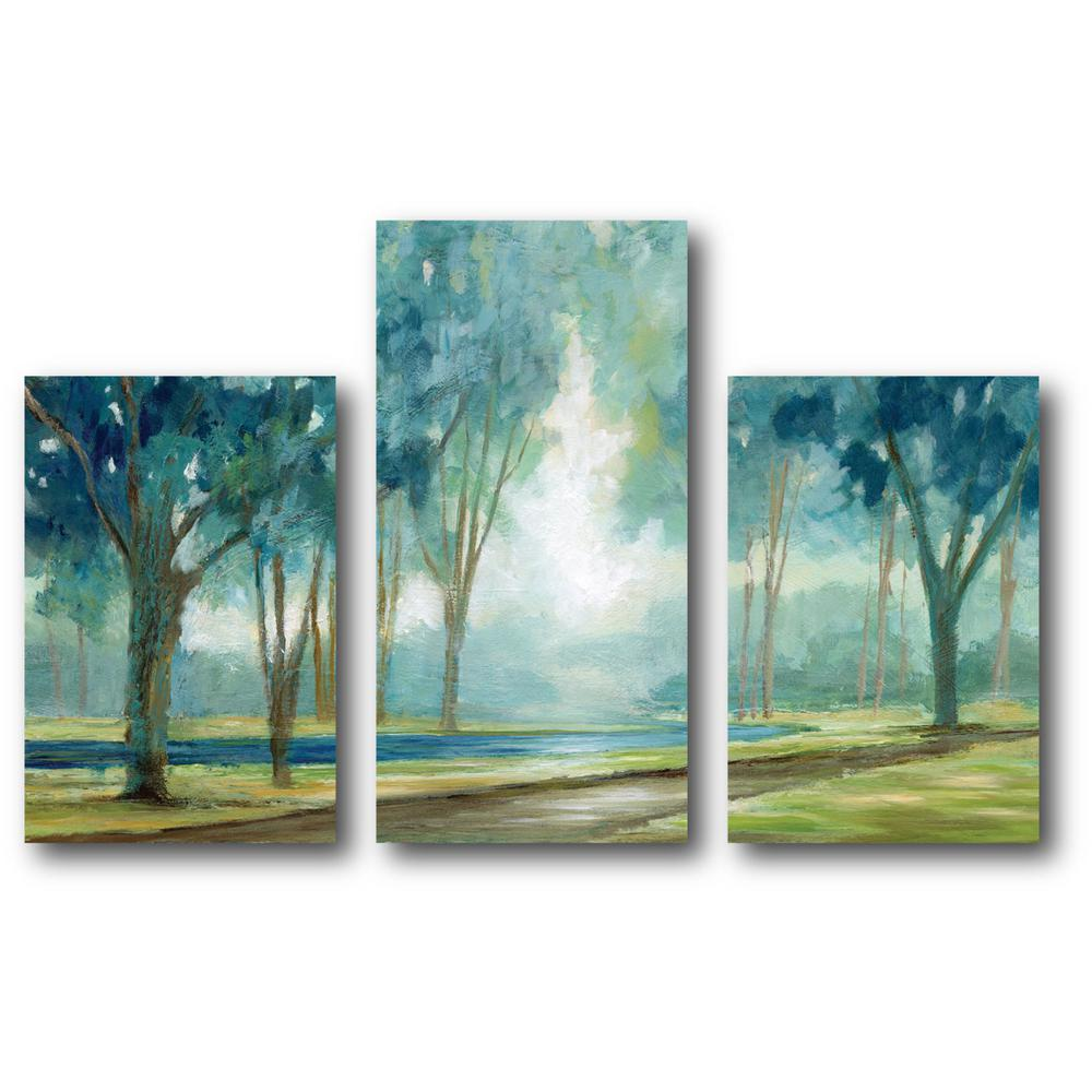 Courtside market teal tranquil tree canvas wall art