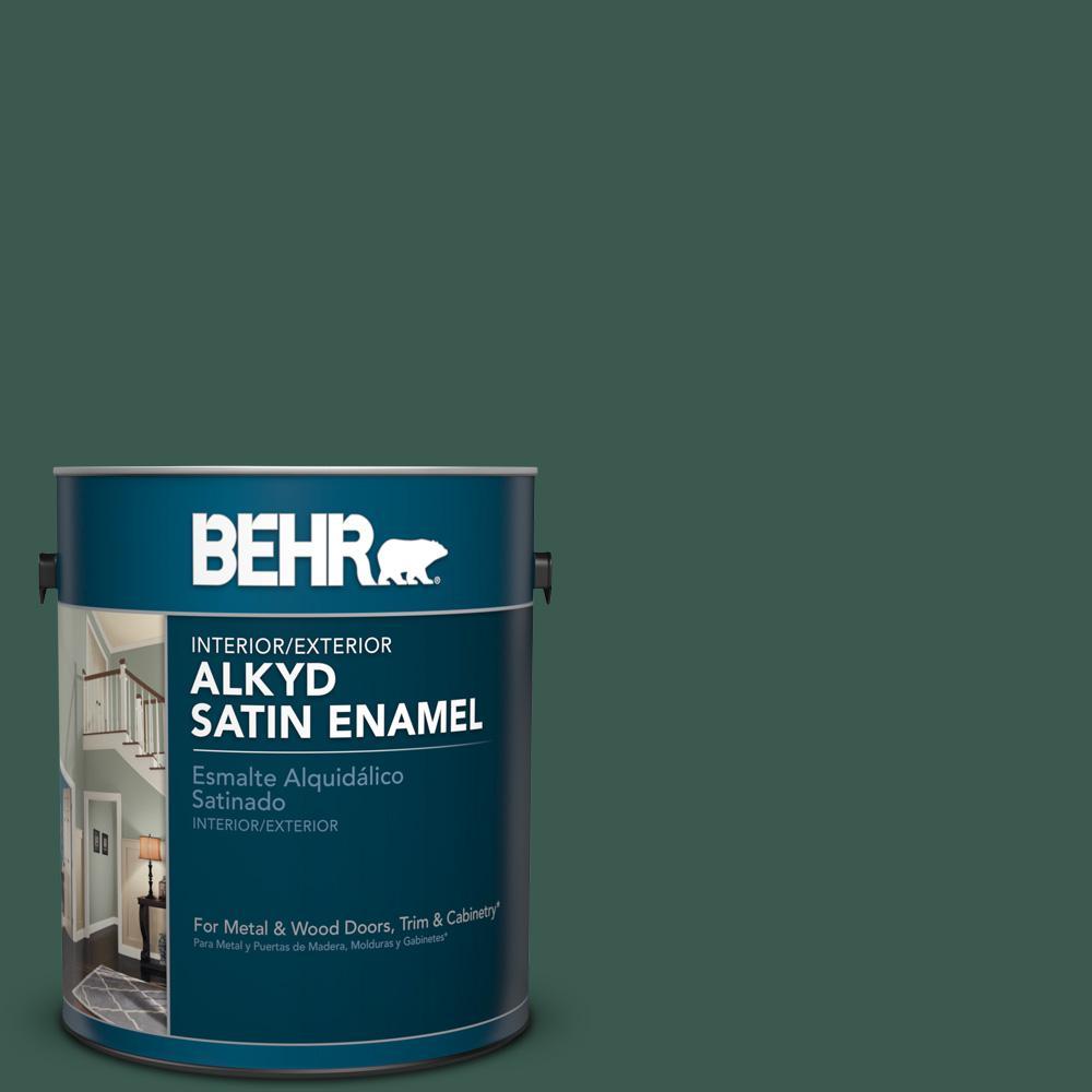 1 gal. #PFC-45 Patio Green Satin Enamel Alkyd Interior/Exterior Paint