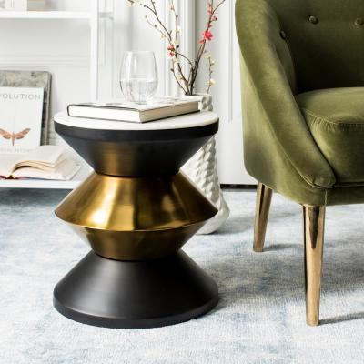 Azizi White Stone, Black and Gold Side Table
