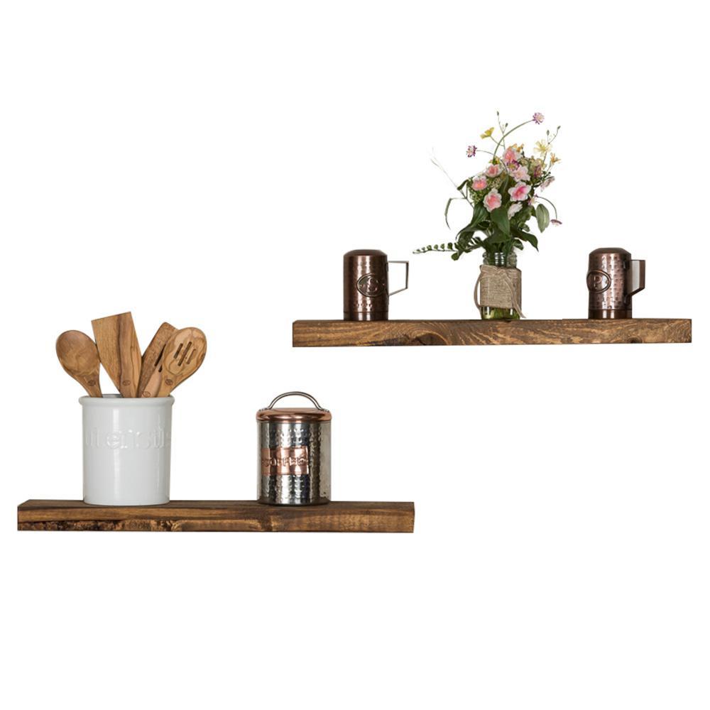 True Floating 5.5 in x 24 in x 2 in Dark Walnut Pine Floating Decorative Wall Shelf with Brackets (Set of 2)