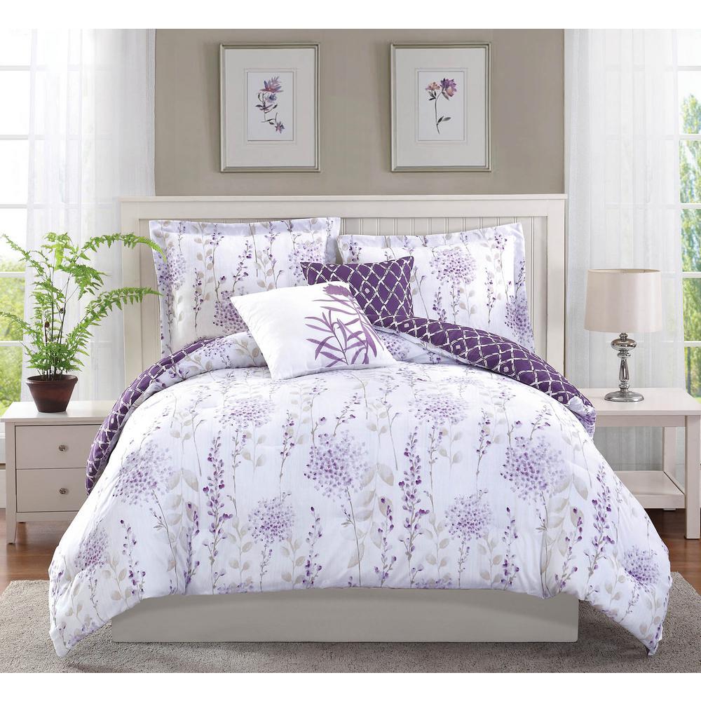 Studio 17 Fresh Meadow Purple 5-Piece Full/Queen Comforter Set