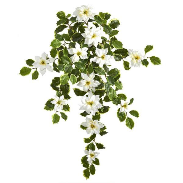 30 in. White Poinsettia and Variegated Holly Artificial Plant (Set of 2) (Real Touch)