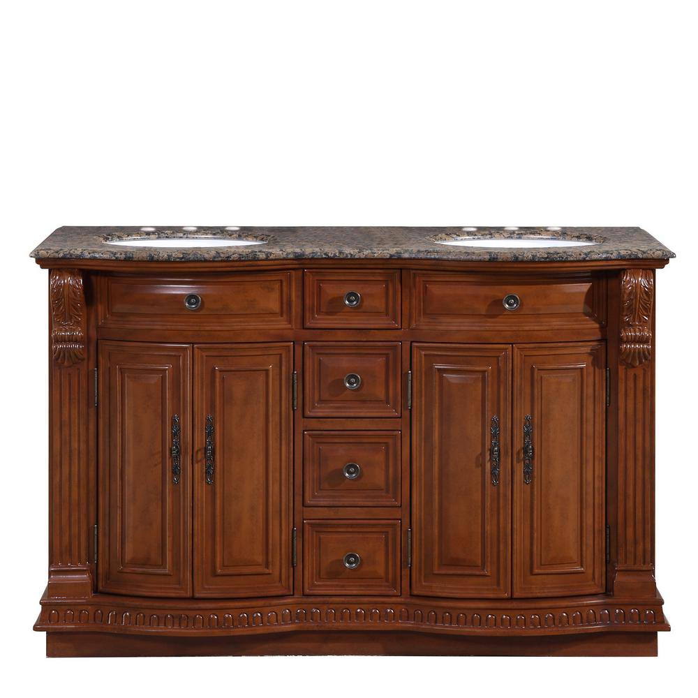 Silkroad Exclusive 55 in. W x 22 in. D Vanity in Cherry with Granite Vanity Top in Baltic Brown with White Basin