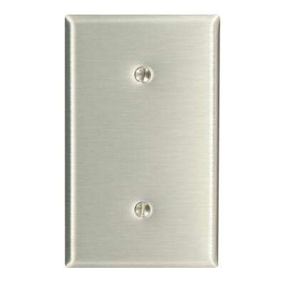 1-Gang No Device Blank Wallplate, Standard Size, 302 Stainless Steel, Strap Mount, Stainless Steel