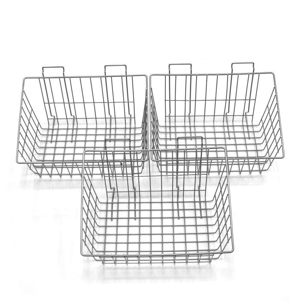 Proslat 8 in. H x 15 in. W x 11 in. D Ventilated Wire Basket (3-Pack ...