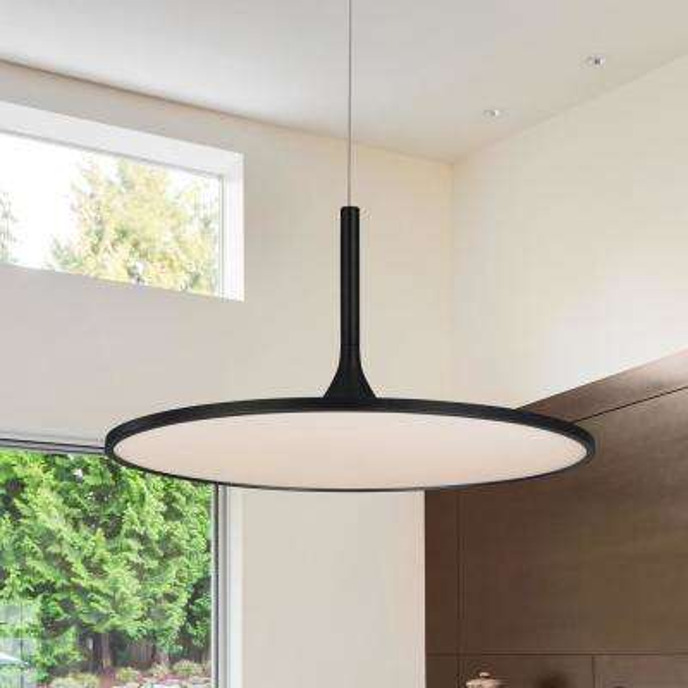 Salm Collection 45-Watt Black Integrated LED Adjustable Hanging Modern Disc Chandelier 24 in.