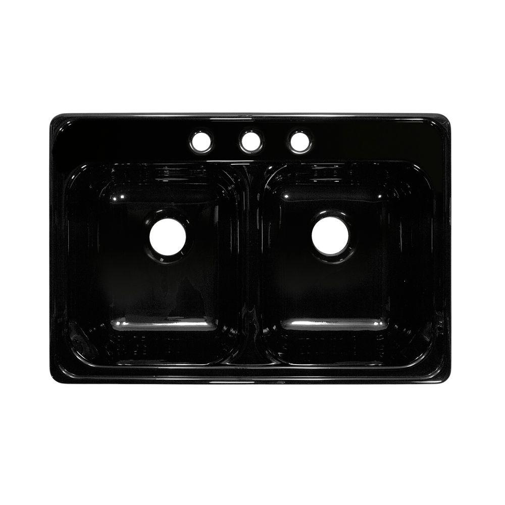 Lyons Industries Deluxe Drop-In Acrylic 33x22x10 in. 3-Hole 50/50 Double Basin Kitchen Sink in Black