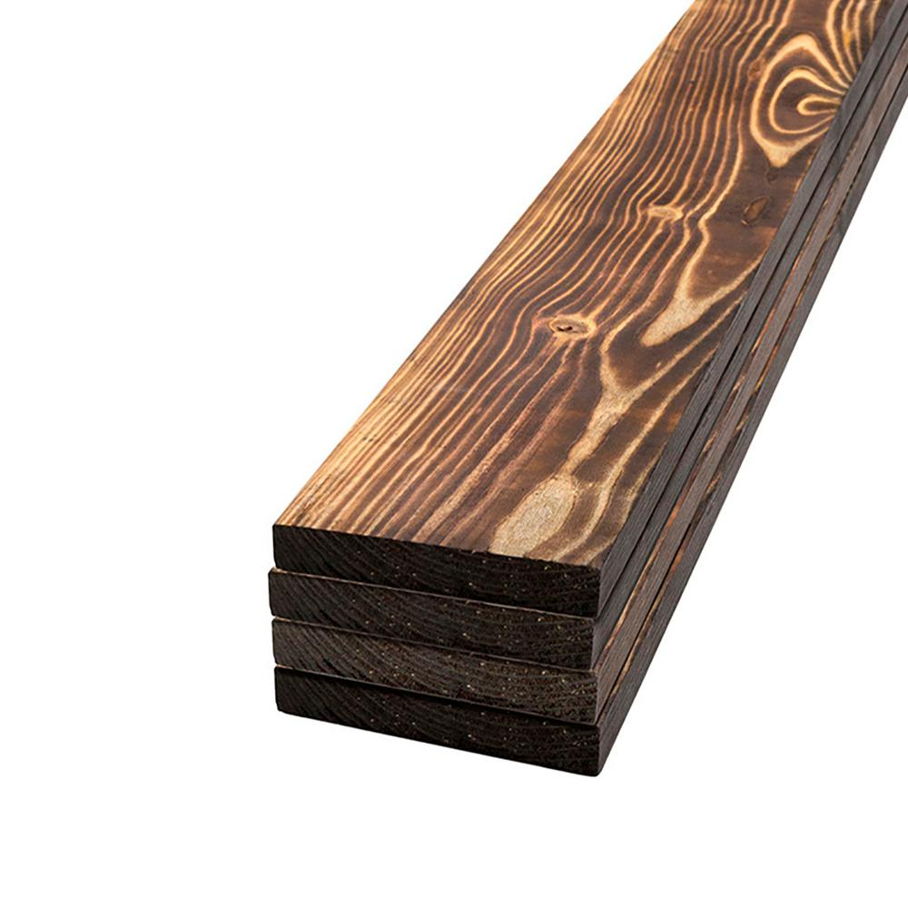 UFP-Edge 1 in. x 4 in. x 2 ft. Charred Wood Pine Project Board (4-Pack)