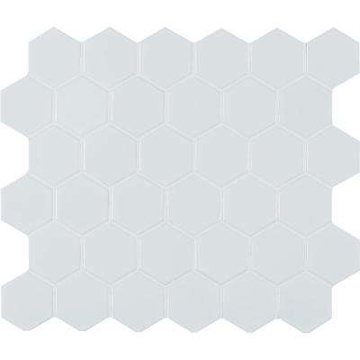 White Hexagon 12 in. x 11 in. x 6 mm Matte Porcelain Mesh-Mounted Mosaic Tile (1 sq. ft.)