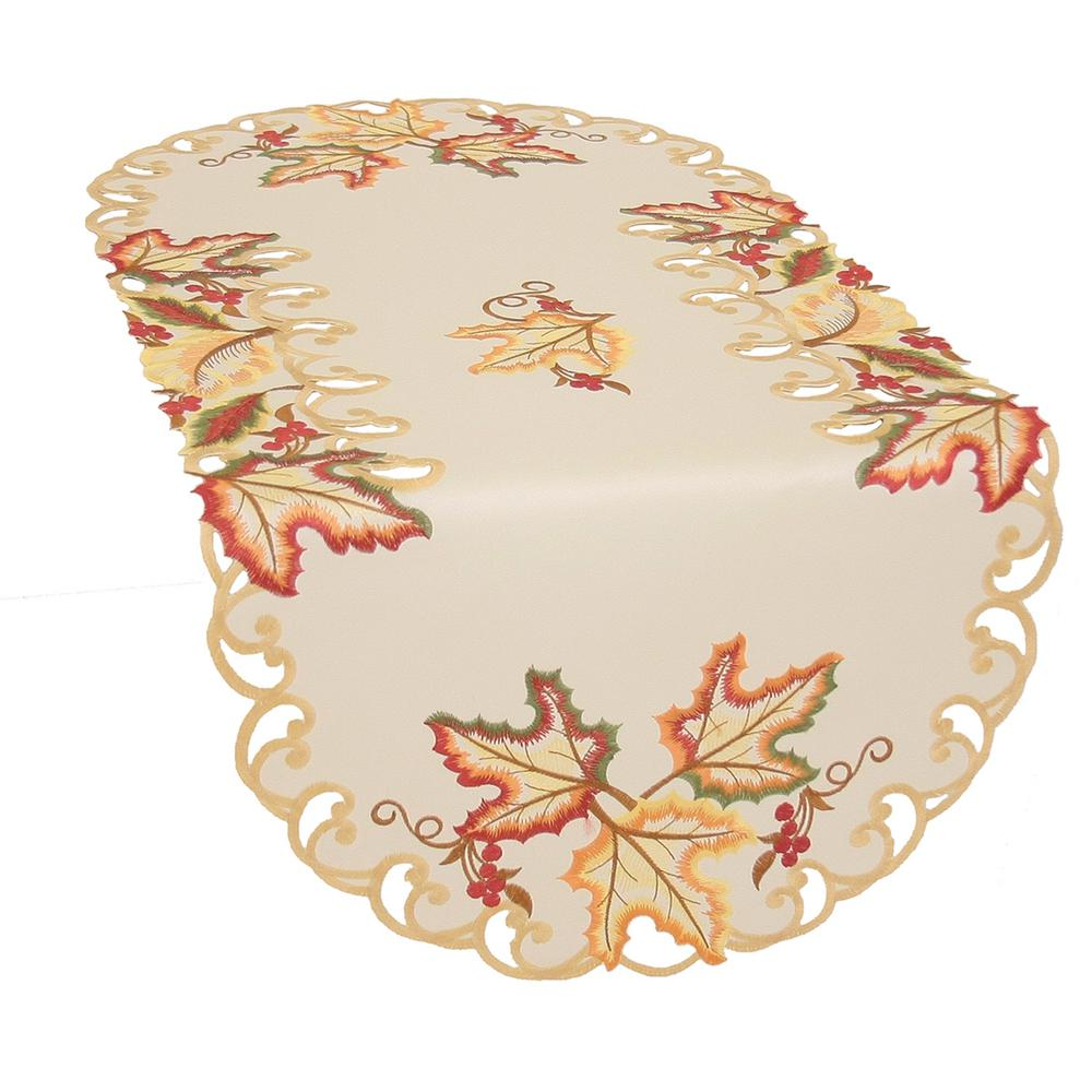 Xia Home Fashions 0.1 in. H x 16 in. W x 34 in. D Moisson Leaf Embroidered Cutwork Fall Table Runner