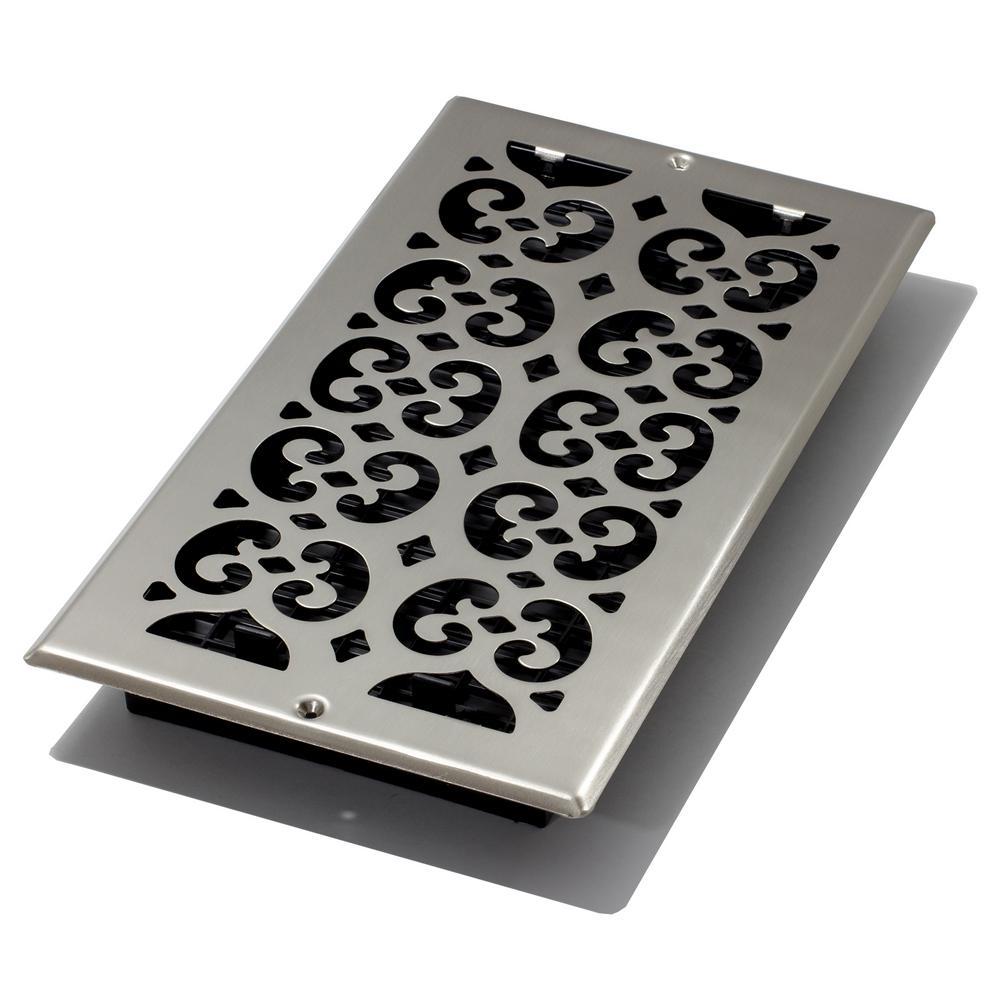 6 in. x 12 in. Brushed Nickel Steel Plated Scroll Wall Register