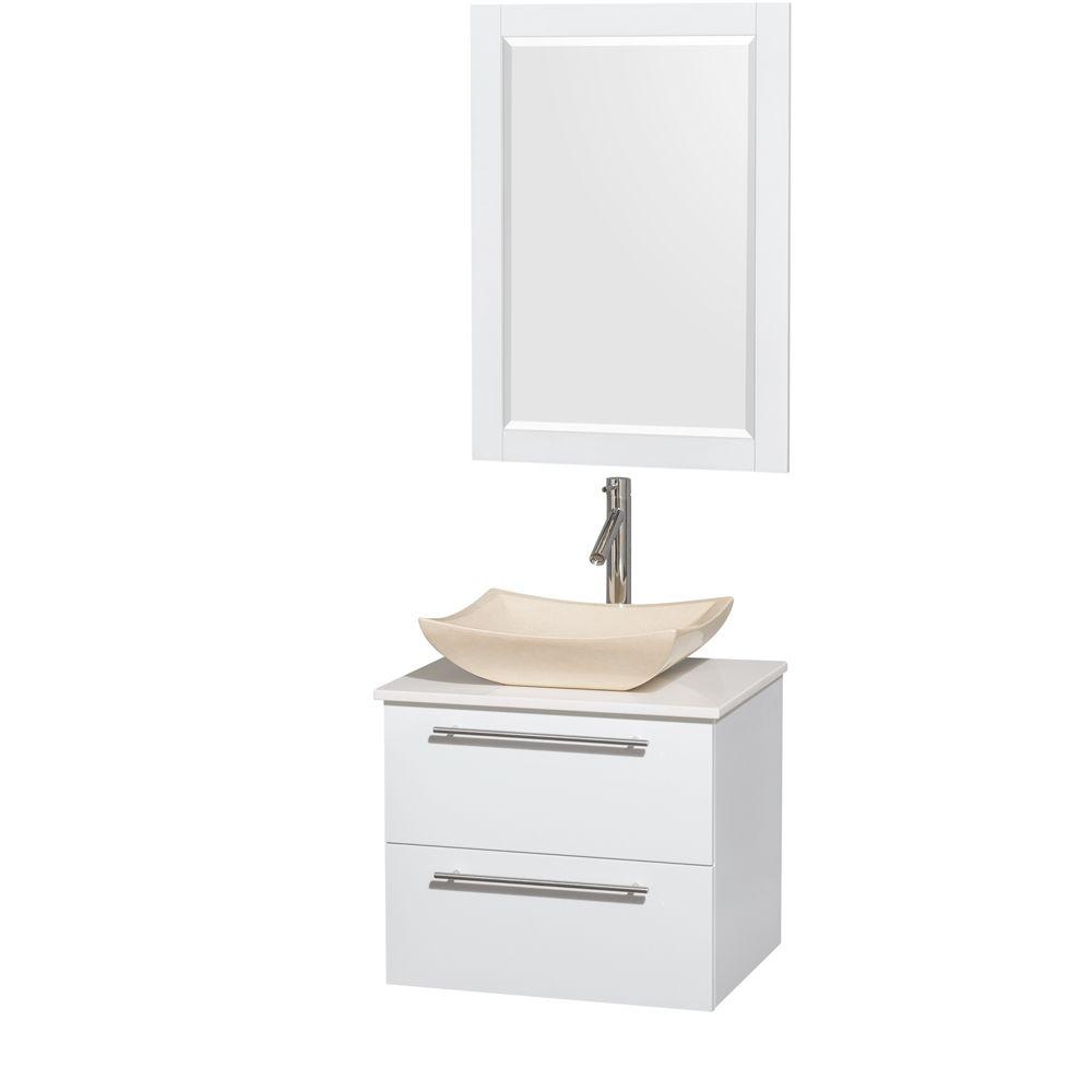 Wyndham Collection Amare 24 in. Vanity in Glossy White with Solid-Surface Vanity Top in White, Marble Sink and 24 in. Mirror