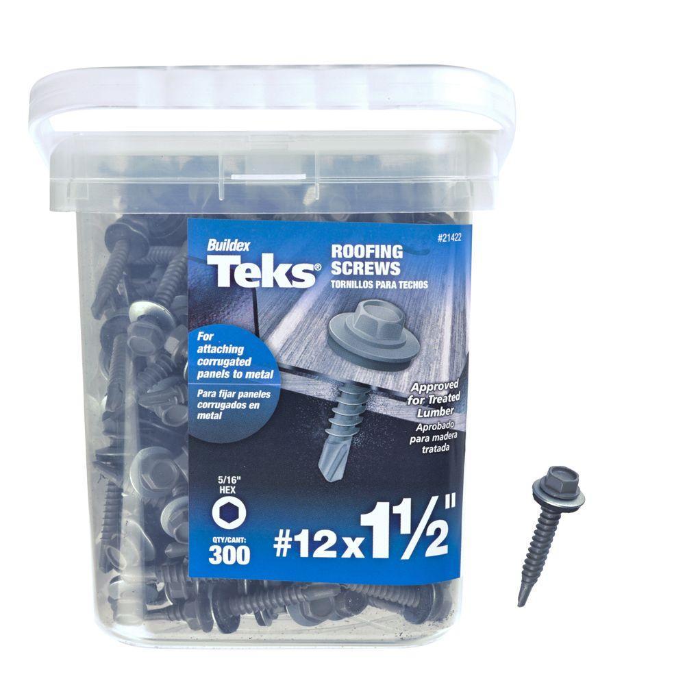 Teks #12 x 1-1/2 in. Hex-Head Roofing Screws (300-Pack)