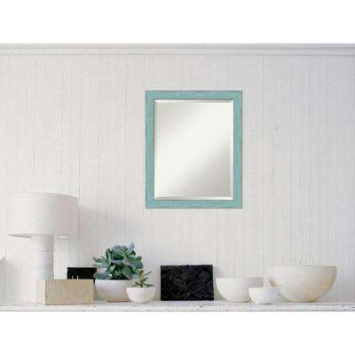Sky Blue Rustic Wood 19 in. W x 23 in. H Distressed Framed Mirror