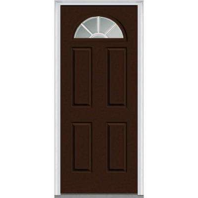32 in. x 80 in. Grilles Between Glass Right-Hand Inswing 1/4-Lite Clear Painted Fiberglass Smooth Prehung Front Door