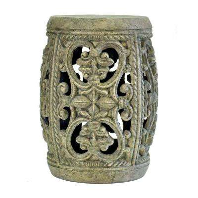 19 in. H Cast Stone Garden Patio Stool in Granite Finish