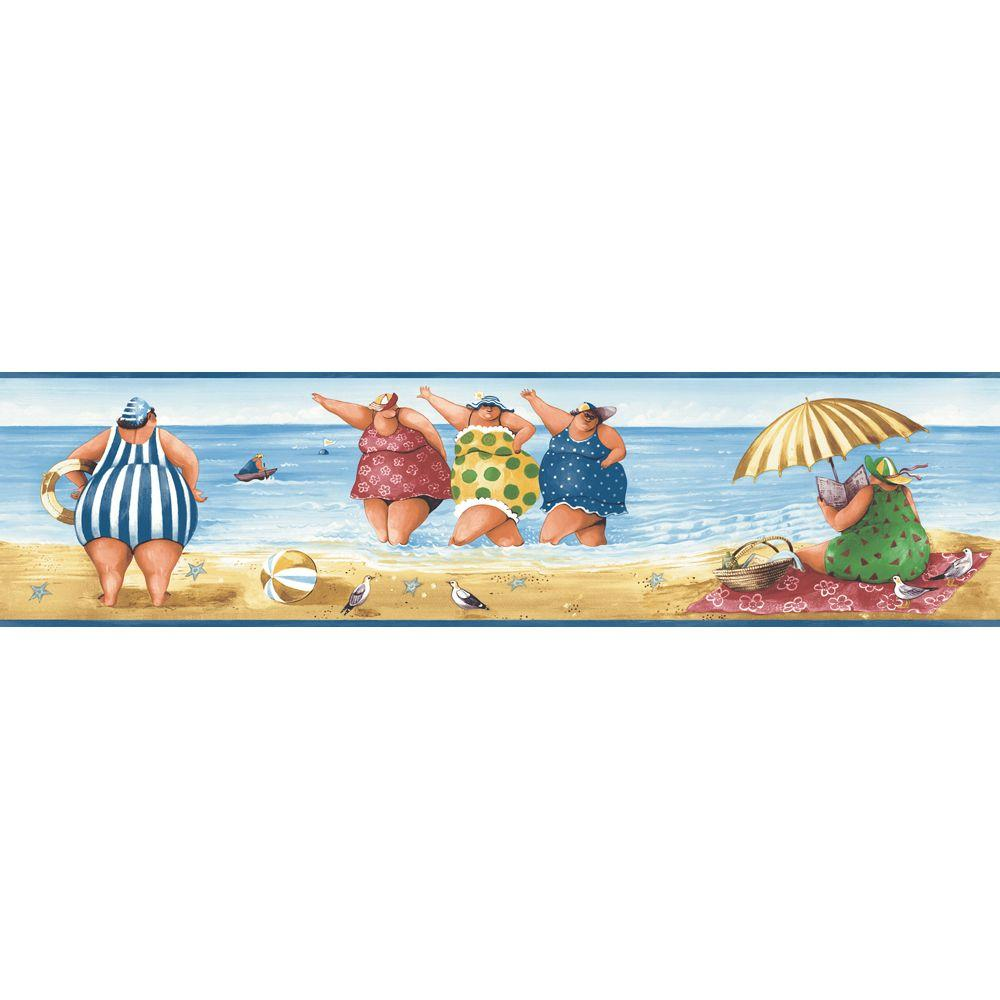 The Wallpaper Company 8 in. x 10 in. Jewel Tone Novelty Bathing Beauties Border Sample