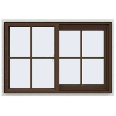 35.5 in. x 23.5 in. V-2500 Series Brown Painted Vinyl Right-Handed Sliding Window with Colonial Grids/Grilles