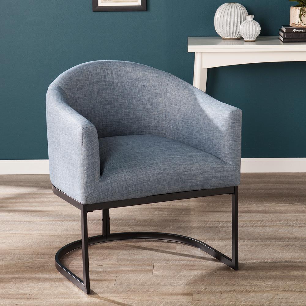 Benton Light Denim Blue And Black Upholstered Barrel Chair