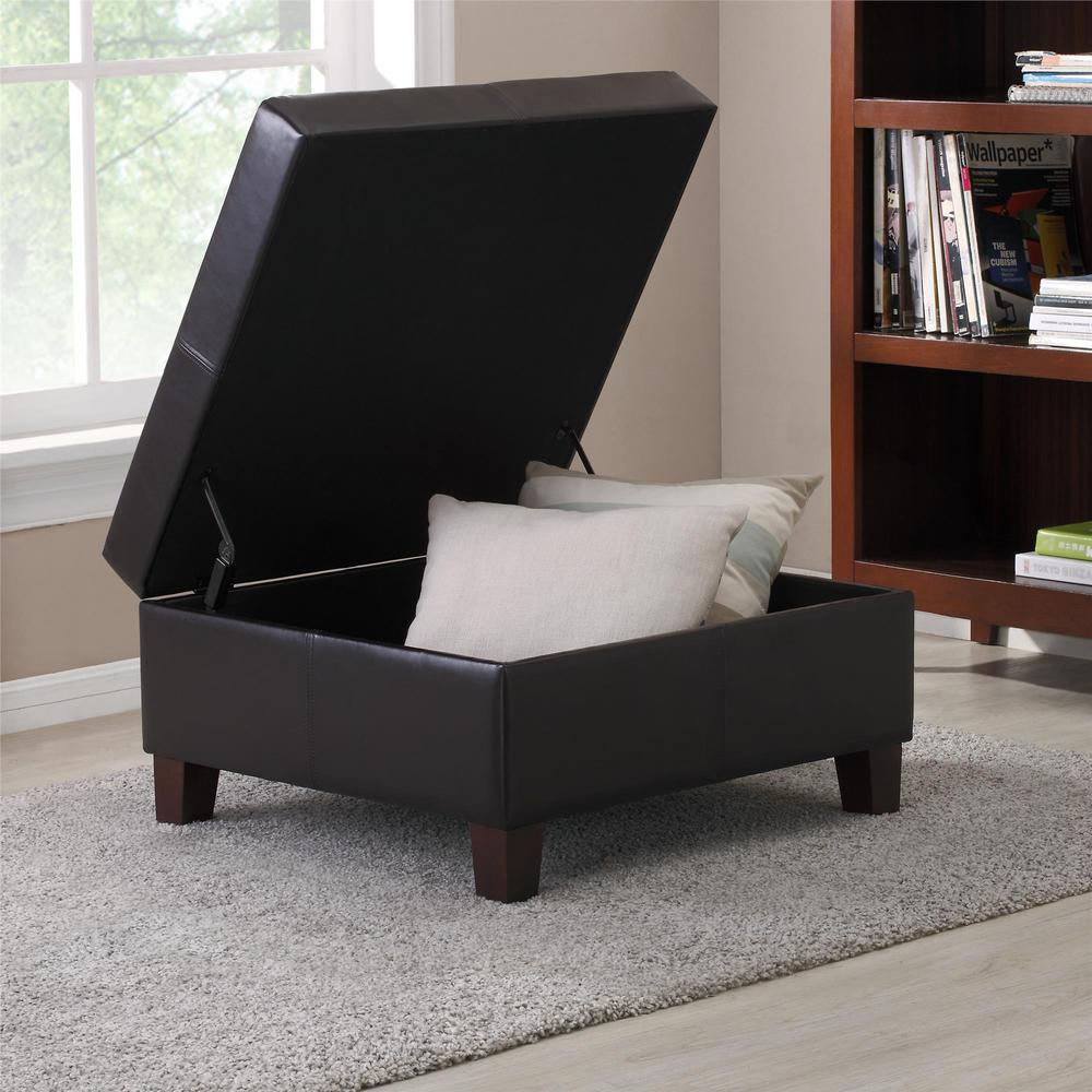 Dorel Living Clifford Espresso Lift Top Storage Ottoman