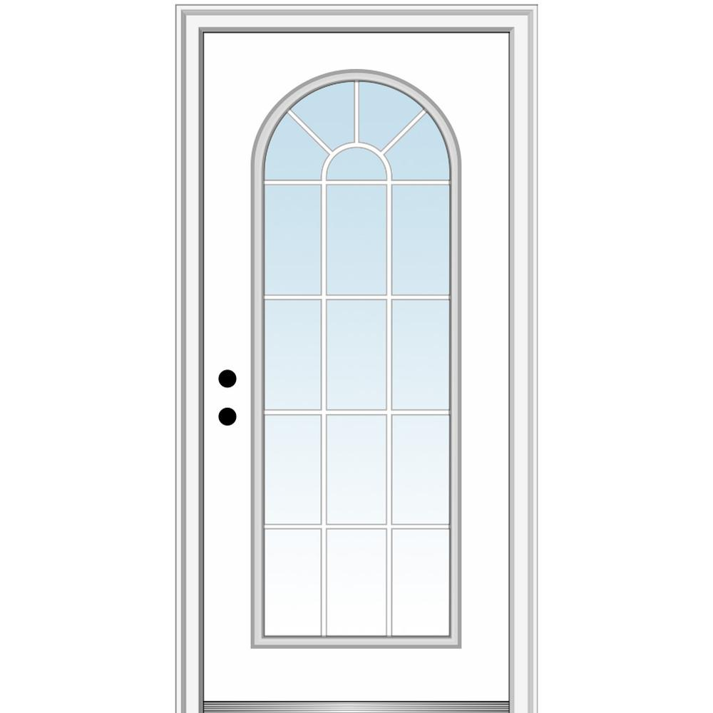 MMI Door 32 in. x 80 in. Classic Right-Hand Inswing Full-Lite Clear Round Top Primed Steel Prehung Front Door on 4-9/16 in. Frame