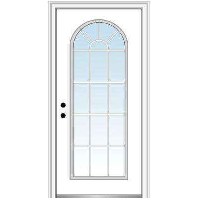 32 in. x 80 in. Classic Right-Hand Inswing Full-Lite Clear Round Top Primed Steel Prehung Front Door on 4-9/16 in. Frame
