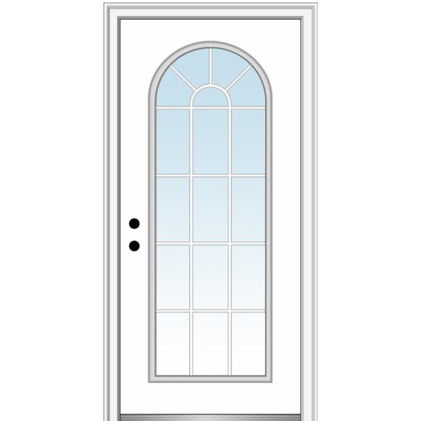 36 in. x 80 in. Classic Right-Hand Inswing Full-Lite Clear Round Top Primed Steel Prehung Front Door on 4-9/16 in. Frame