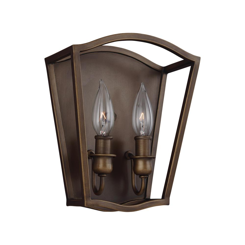 Feiss Yarmouth 2-Light Painted Aged Brass Sconce
