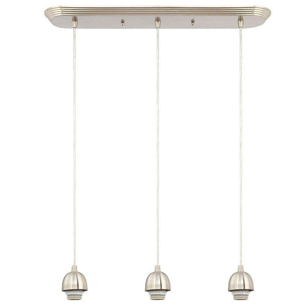 Light Pendant Lighting Brushed Nickel Kitchen Dining Island Bar - 3 pendant light fixture island