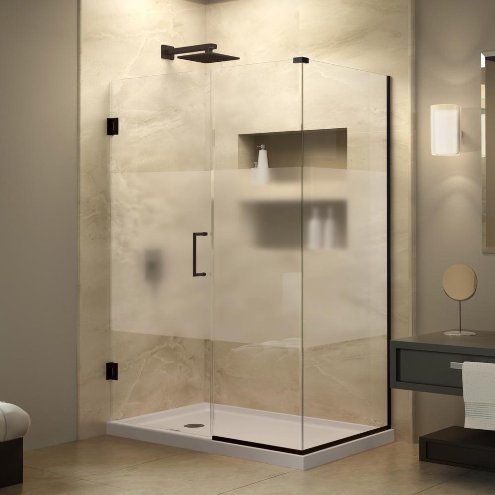 DreamLine Unidoor Plus 34-3/8 in. x 49 in. x 72 in. Hinged Shower Enclosure with Half Frosted Glass Door in Oil Rubbed Bronze