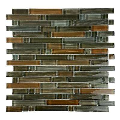 Handicraft II Santa Fe Beige Linear Mosaic 12 in. x 12 in. Glossy Glass Wall and Pool Tile (1 Sq. ft.)
