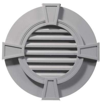 30 in. Round Gable Vent with Keystones in Gray